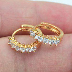 Yellow Gold Filled Diamond Huggie Earrings
